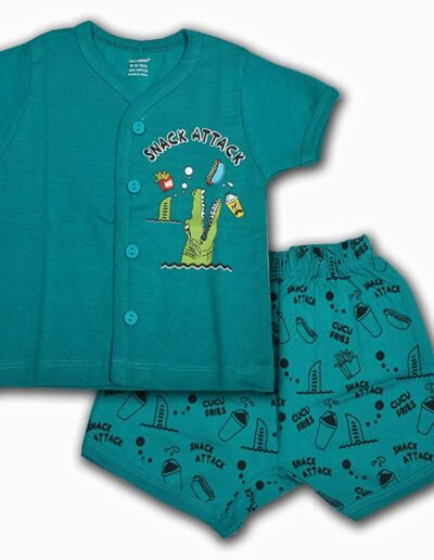 Cucumber Summer Wear Printed Cotton T-Shirt and Shorts
