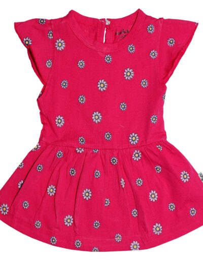 Hazelnuts Baby Girl's Cotton A-Line Knee Length Printed Frock