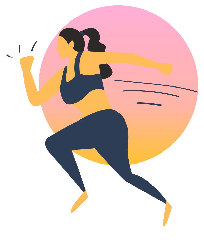 A girl running wearing sport gear.